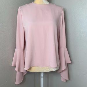 Carmen Marc Valvo Bell Sleeve Pink Blouse 8